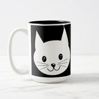 Cute Cat Face. Two-Tone Mug