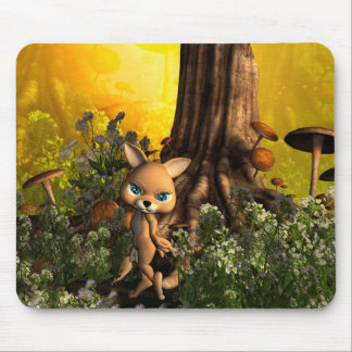 Cute cat in a fairy tale forest mouse pads