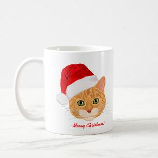 Cute Cat in Santa Hat Merry Christmas Mugs