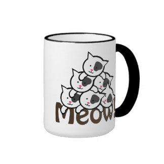 Cute Cat(Meow)Black Ringer Coffee Mug