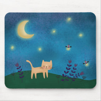 Cute cat on a summer night mouse pad