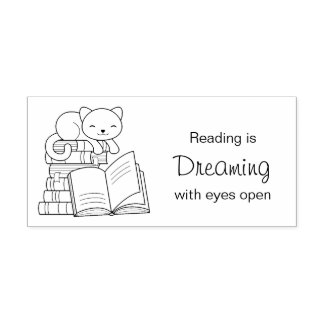 Cute Cat on top of Stack of Books - Reading Quote Rubber Stamp