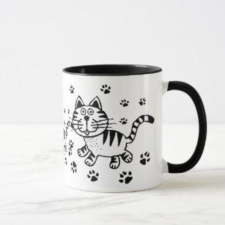 Cute Cat & Paw Prints  Mug