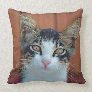 Cute cat portrait throw pillow
