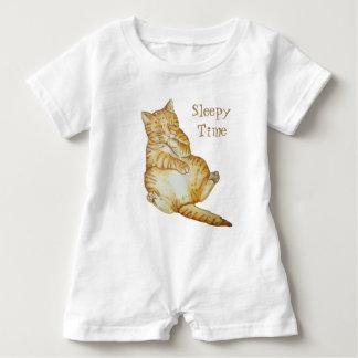 cute cat sleeping ginger kitten art design baby bodysuit