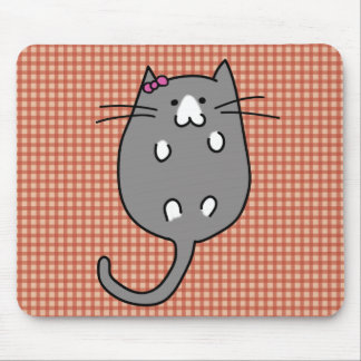 Cute Cat with Bow Mouse Pad
