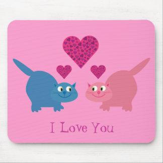 Cute Cats & Hearts I Love You Pink Customizable Mousepad