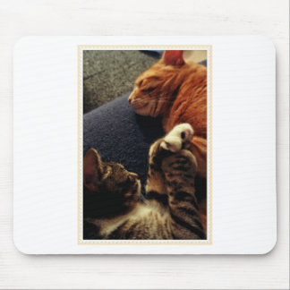 Cute Cats Holding Hands Mouse Pad