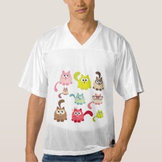 Cute cats,kid pattern,colorful,happy,fun,girly,tre men's football jersey