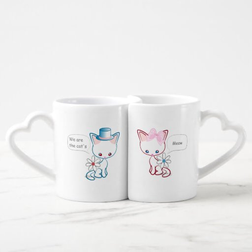 Cute Cats Meow Husband and Wife Couple Mugs