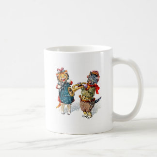Cute Cats Play the Trumpet & Triangle in the Snow Coffee Mug