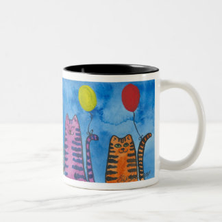 Cute Cats with Balloons cup Two-Tone Mug