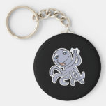 cute cheering octopus basic round button key ring
