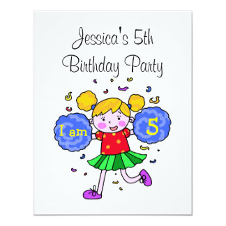 Cute cheerleader 5th birthday girl party 11 cm x 14 cm invitation card