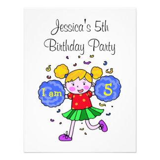 Cute cheerleader 5th birthday girl party invitation