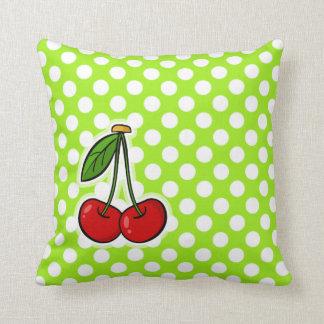 Cute Cherries on Green-Yellow Polka Dots Throw Pillows
