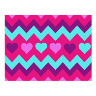 Cute Chevron Hearts Pink Teal Teen Girl Gifts Postcard