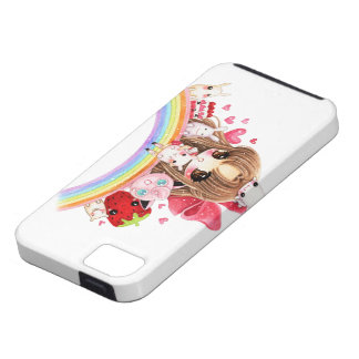 Cute chibi and kawaii animals sitting on rainbow case for the iPhone 5