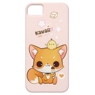 Cute chibi fox with kawaii chick and icecream iPhone 5 case