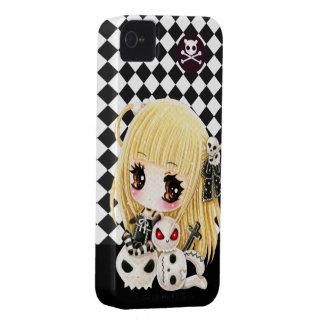 Cute chibi girl and kawaii skulls iPhone 4 case