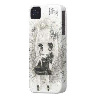 Cute chibi girl in black and white - Iphone case