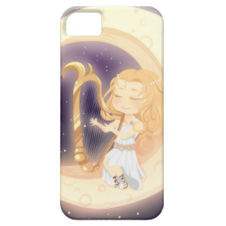 Cute Chibi girl playing the harp on the moon Case For The iPhone 5