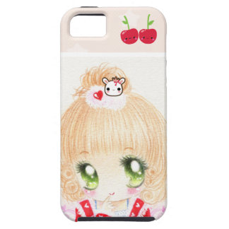 Cute chibi girl with kawaii cherries case for the iPhone 5
