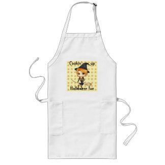 Cute chibi witch girl Halloween apron