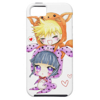 Cute chibis couple in fox and bunny hoodies tough iPhone 5 case