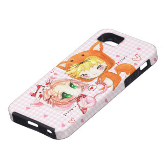 Cute chibis couple in fox and cat hoodies case for the iPhone 5