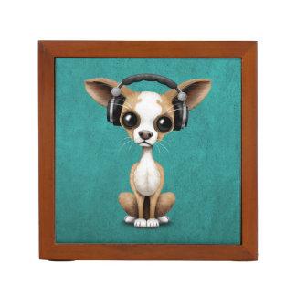 Cute Chihuahua Puppy Dj Wearing Headphones on Blue Desk Organiser