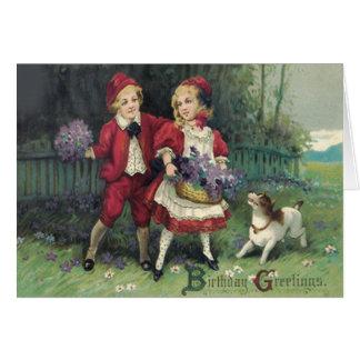 Cute Children Basket Bouquet Violets Dog Card
