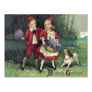 Cute Children Basket Bouquet Violets Dog Postcard