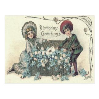 Cute Children Basket Forget-Me-Not Postcard