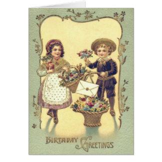 Cute Children Baskets of Flowers Card