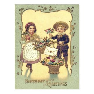 Cute Children Baskets of Flowers Card Postcard