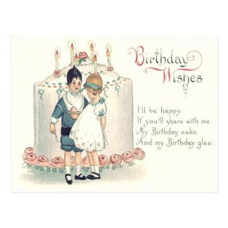 Cute Children Birthday Cake Rose Postcard
