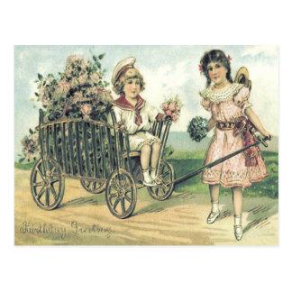 Cute Children Cart Rose Bouquet Postcard