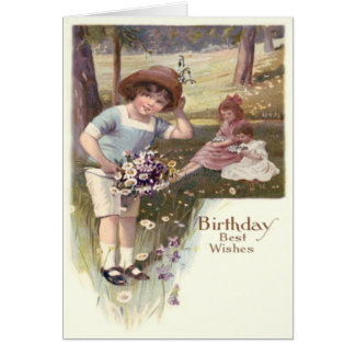 Cute Children Daisies Violets Field Card