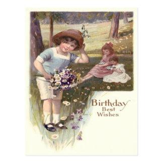 Cute Children Daisies Violets Field Postcard