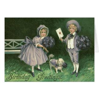 Cute Children Dog Violets Card