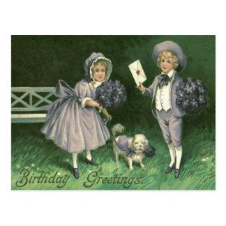 Cute Children Dog Violets Postcard