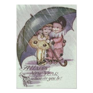 Cute Children Under Umbrella Rain Card