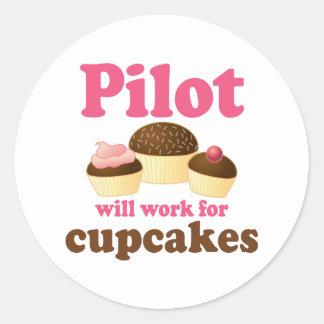 Cute Chocolate Cupcake Occupation Pilot Classic Round Sticker
