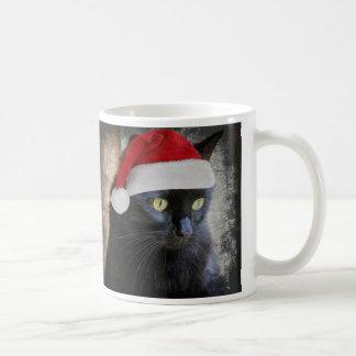 Cute Christmas Cat in Santa Hat, Coffee Mug