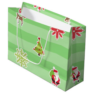 Cute Christmas Characters on Light Green Stripes Large Gift Bag
