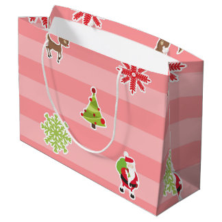 Cute Christmas Characters on Light Red Stripes Large Gift Bag