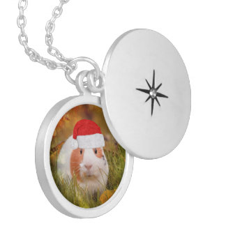 cute christmas guinea pig locket necklace