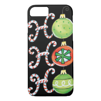 Cute Christmas Ho Ho Ho, Candy Canes Ornaments iPhone 8/7 Case