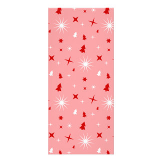 Cute Christmas Pattern Pink White Red Trees Stars Custom Rack Cards